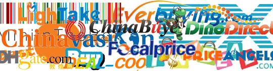 Kiinalaisten halpistavara kauppojen logoja