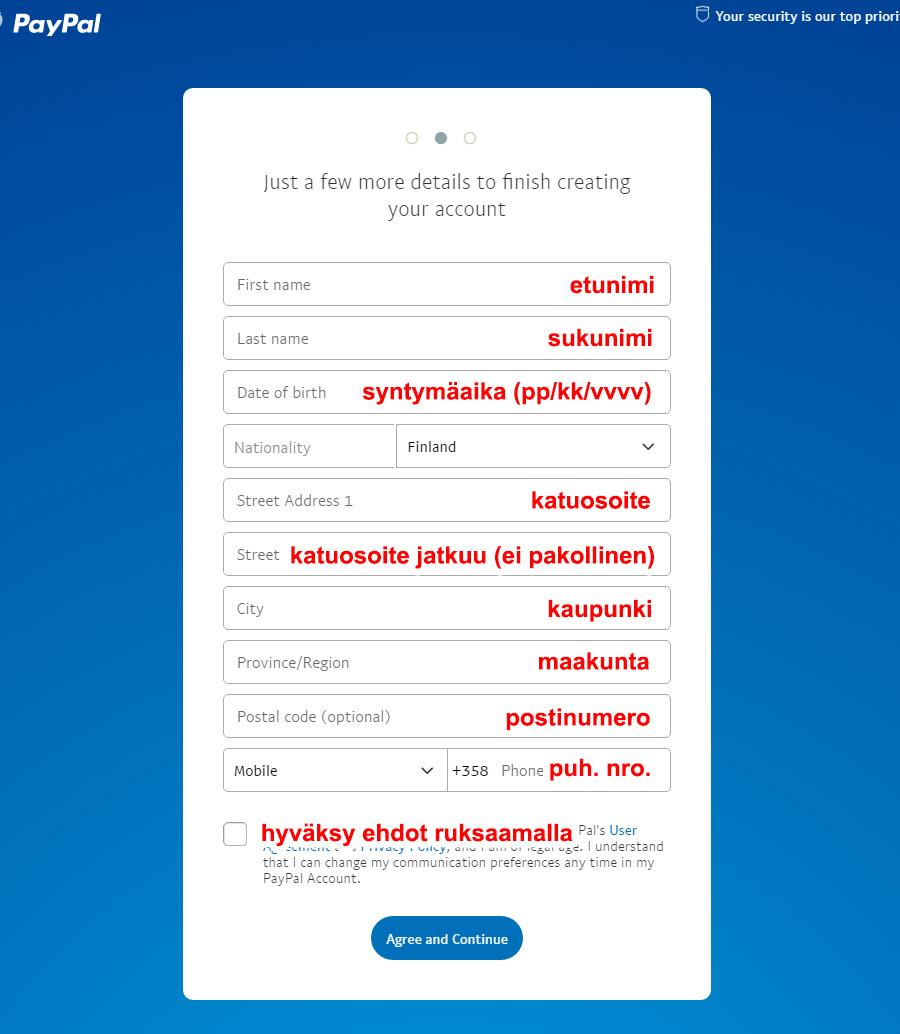 Syötä tarkemmat tiedot Paypal tiliäsi varten