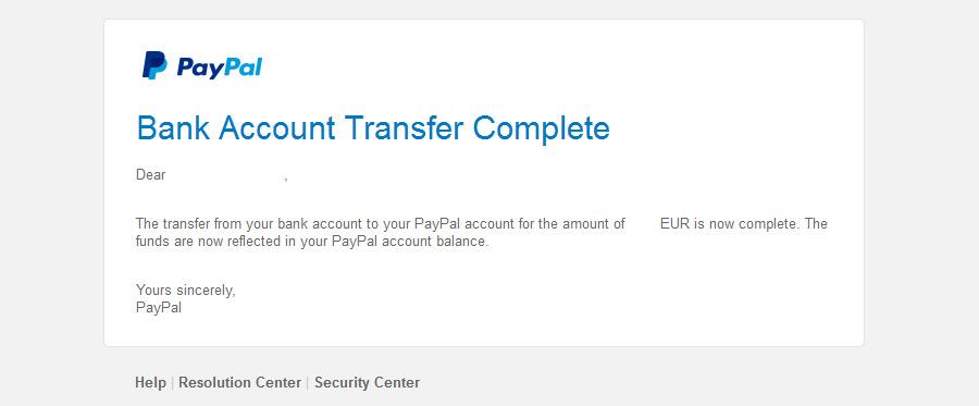 Kun saat tämän sähköpostin, Top Up rahat ovat Paypal-saldossasi
