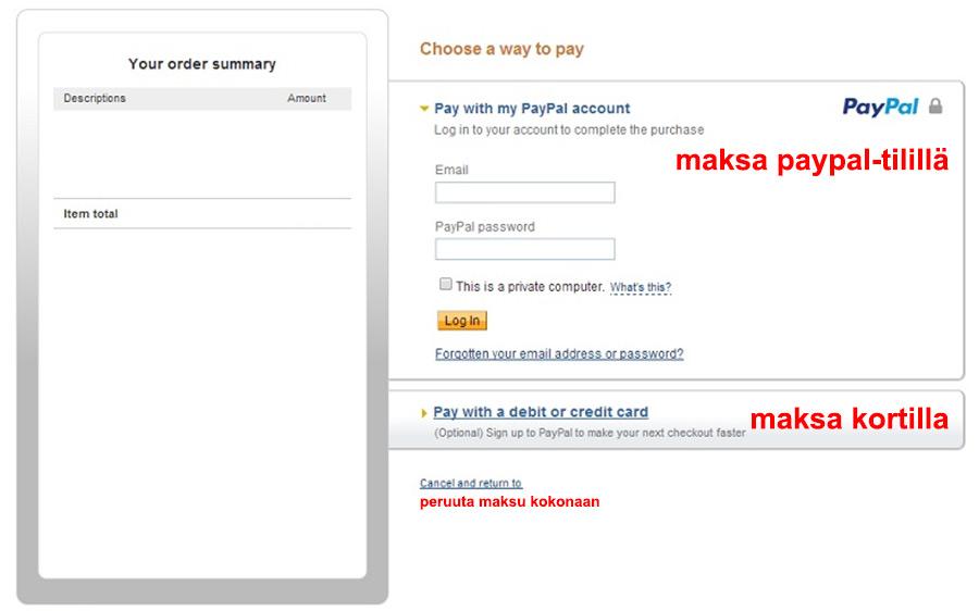 Käytä Paypal Checkooutia korttimaksuun