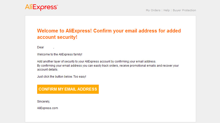 Jos AliExpress vahvistusviestiä ei näy, tarkista roskapostilaatikkosi