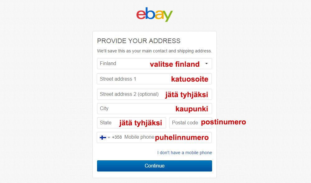 Lisää eBay tiliisi postitusosoite jotta voit vastaanottaa ostoksia
