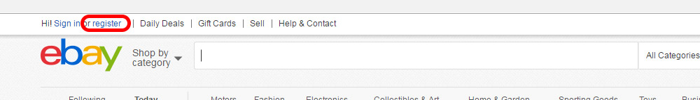 Aloita eBay.com tilin avaus Register-linkistä