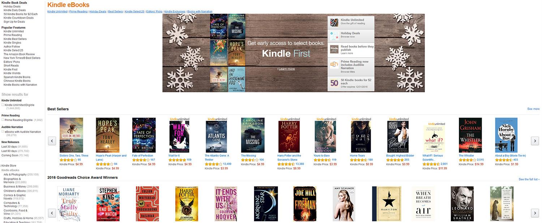 Kuvakaappaus Amazonin Kindle e-kirjakaupasta